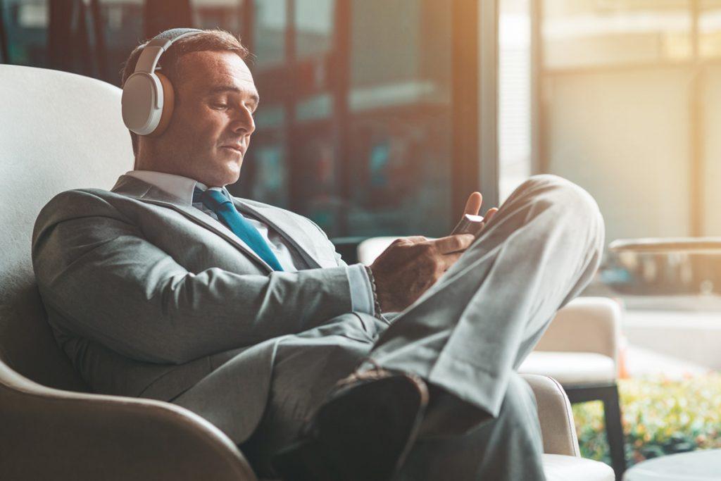 Investor Listening to Podcast